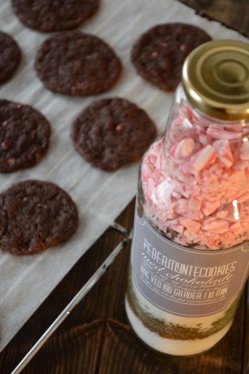Værtindegaver i glas - Pebermyntecookies med chokolade
