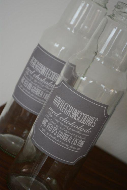 Værtindegaver i glas med etiketter