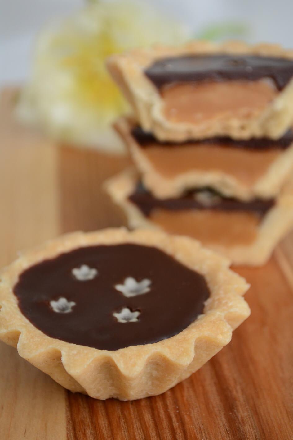Karameltærter med chokoladeganache